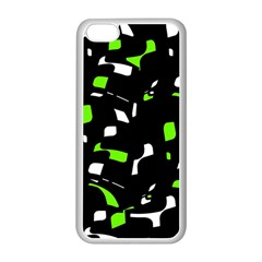 Green, black and white pattern Apple iPhone 5C Seamless Case (White)