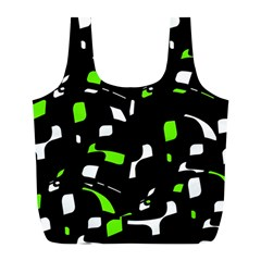 Green, black and white pattern Full Print Recycle Bags (L)