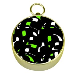 Green, black and white pattern Gold Compasses