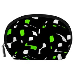 Green, black and white pattern Accessory Pouches (Large)