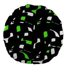Green, black and white pattern Large 18  Premium Flano Round Cushions