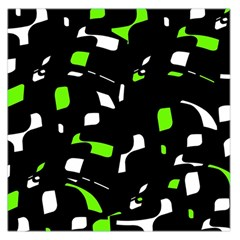 Green, black and white pattern Large Satin Scarf (Square)