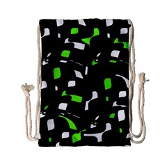 Green, black and white pattern Drawstring Bag (Small)