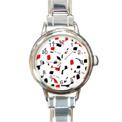 White, red and black pattern Round Italian Charm Watch