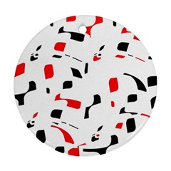 White, red and black pattern Ornament (Round)