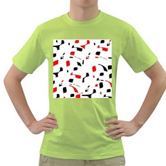 White, red and black pattern Green T-Shirt
