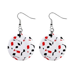 White, red and black pattern Mini Button Earrings