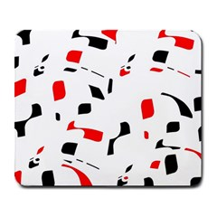 White, red and black pattern Large Mousepads