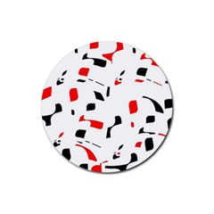 White, red and black pattern Rubber Coaster (Round)