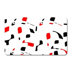 White, red and black pattern Magnet (Rectangular)