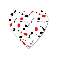 White, red and black pattern Heart Magnet