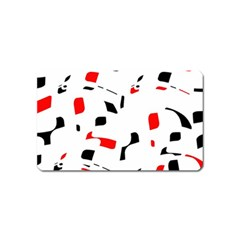 White, red and black pattern Magnet (Name Card)