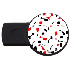 White, red and black pattern USB Flash Drive Round (2 GB)
