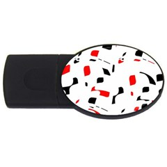 White, red and black pattern USB Flash Drive Oval (1 GB)