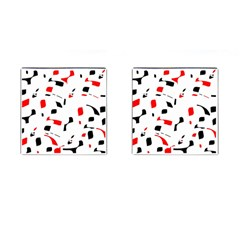 White, red and black pattern Cufflinks (Square)