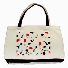 White, red and black pattern Basic Tote Bag