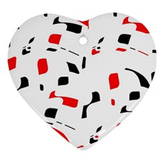White, red and black pattern Heart Ornament (2 Sides)