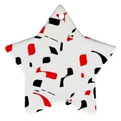 White, red and black pattern Star Ornament (Two Sides)