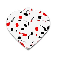 White, red and black pattern Dog Tag Heart (Two Sides)
