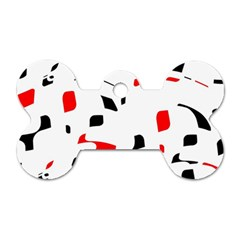 White, red and black pattern Dog Tag Bone (Two Sides)