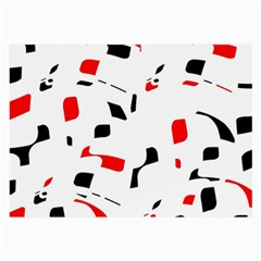 White, red and black pattern Large Glasses Cloth (2-Side)