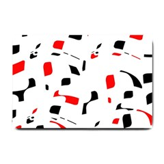 White, red and black pattern Small Doormat