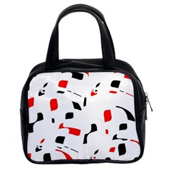 White, red and black pattern Classic Handbags (2 Sides)