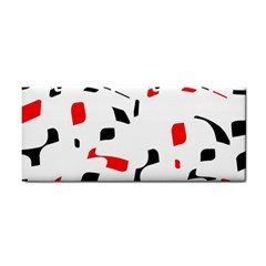 White, red and black pattern Hand Towel