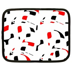 White, red and black pattern Netbook Case (XL)