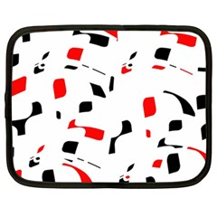 White, red and black pattern Netbook Case (XXL)