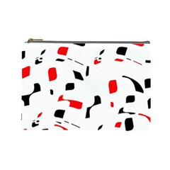 White, red and black pattern Cosmetic Bag (Large)