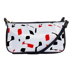 White, red and black pattern Shoulder Clutch Bags