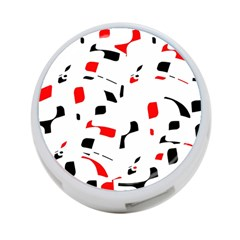 White, red and black pattern 4-Port USB Hub (One Side)