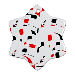 White, red and black pattern Snowflake Ornament (2-Side)