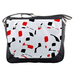 White, red and black pattern Messenger Bags