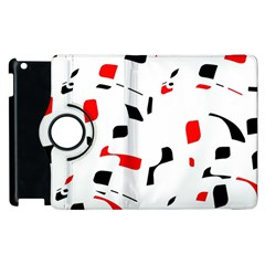 White, red and black pattern Apple iPad 2 Flip 360 Case