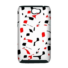 White, red and black pattern Samsung Galaxy Note 2 Hardshell Case (PC+Silicone)