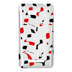 White, red and black pattern HTC One SU T528W Hardshell Case