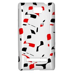 White, red and black pattern HTC 8S Hardshell Case