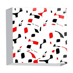 White, red and black pattern 5  x 5  Acrylic Photo Blocks