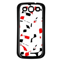 White, red and black pattern Samsung Galaxy S3 Back Case (Black)
