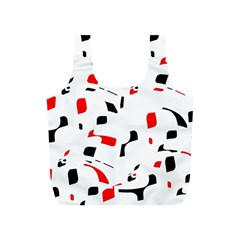 White, red and black pattern Full Print Recycle Bags (S)