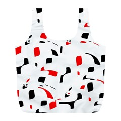 White, red and black pattern Full Print Recycle Bags (L)