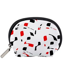 White, red and black pattern Accessory Pouches (Small)