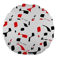 White, red and black pattern Large 18  Premium Flano Round Cushions