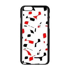 White, red and black pattern Apple iPhone 6/6S Black Enamel Case