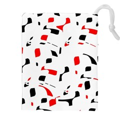 White, red and black pattern Drawstring Pouches (XXL)