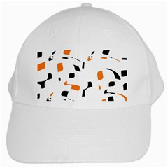 Orange, white and black pattern White Cap