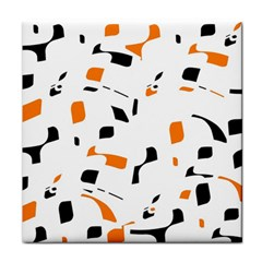 Orange, white and black pattern Tile Coasters