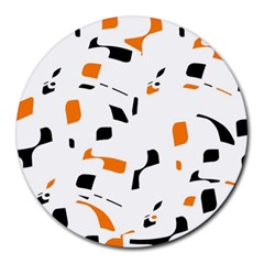 Orange, white and black pattern Round Mousepads